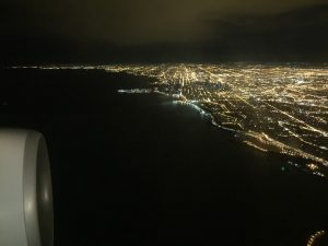 Chicago city lights at night.