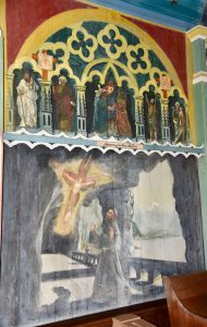 St. Francis in a mural at The Painted Church