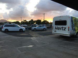 Sunest at the Hertz lot.