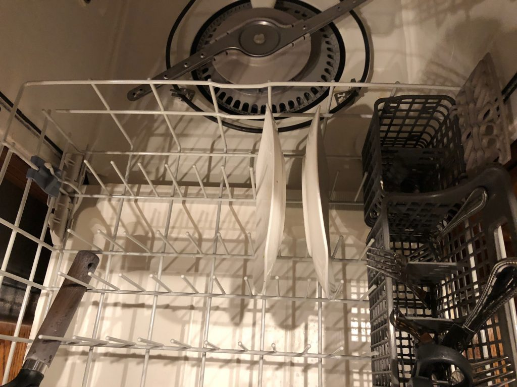 Correct way to load a dishwasher.