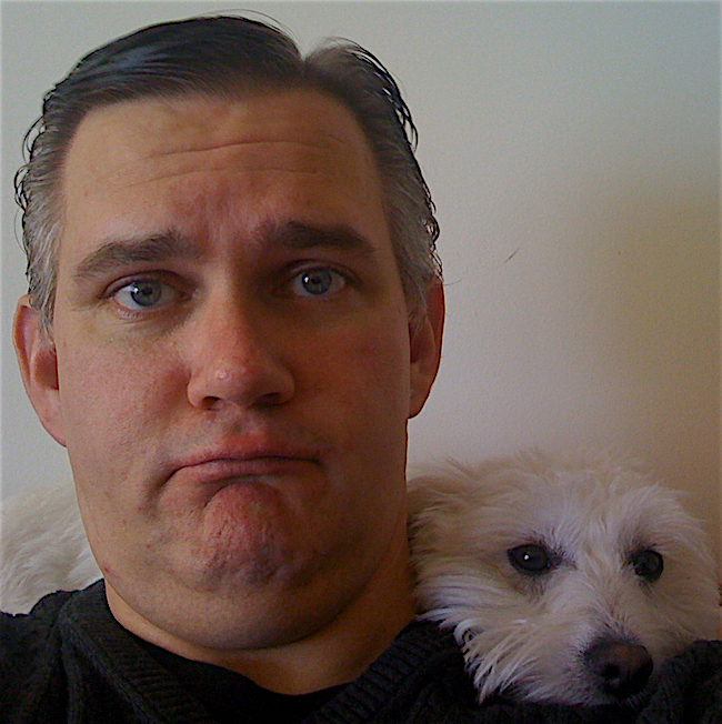 A picture of me and Milo. It's an older picture, not now as my hair has more grey.